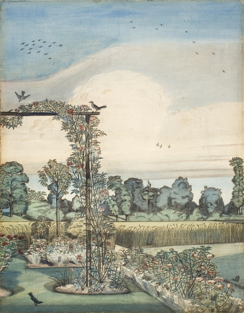 Paul Nash (1889-1946), The Garden at Wood Lane House, Iver Heath, 1912. Watercolour and pencil, 34.3 x 24.8 cm.