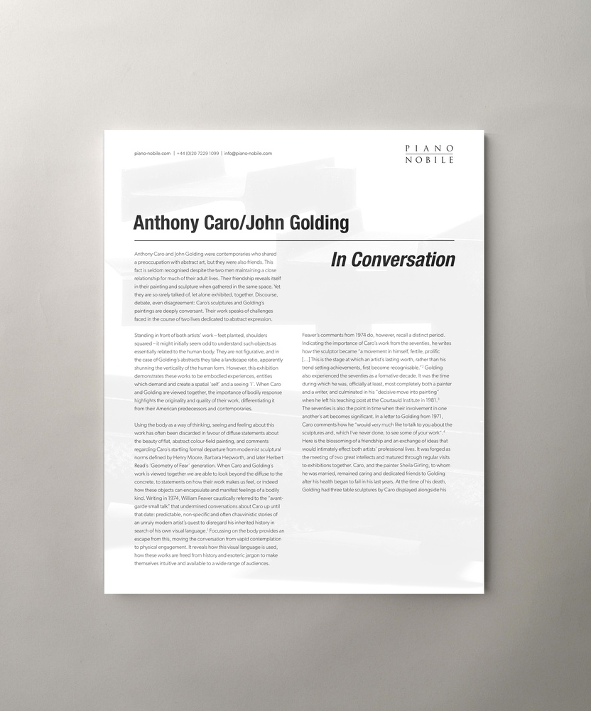 Anthony Caro / John Golding: In conversation