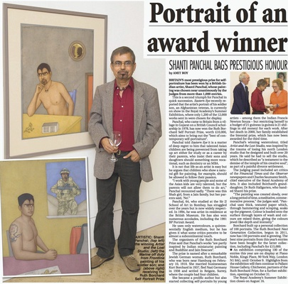 Ruth Borchard Prize Winner Shanti Panchal Featured In The Eastern Eye Newspaper - 31/07/2015