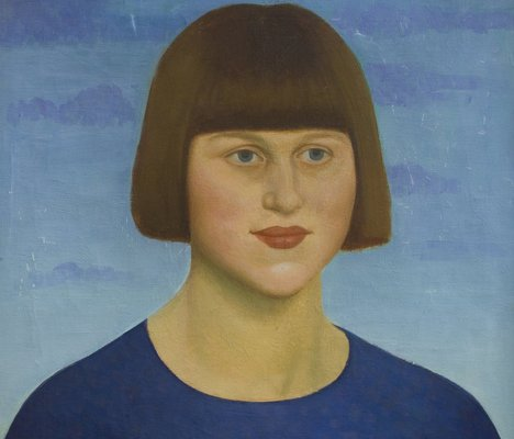 Mark Gertler, Portrait of a Girl Wearing a Blue Jersey  (Dora Carrington), 1912, tempera and Gouache on board
