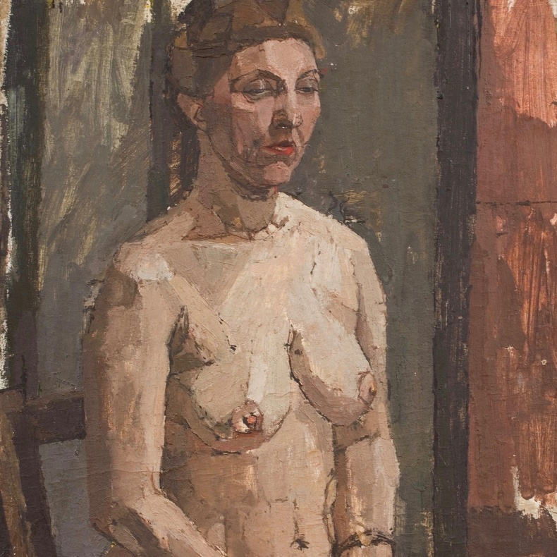 Euan Uglow, 1932-2000. Seated Nude, c.1954. Oil on board, 55.3 x 40.4 cm, 21 3/4 x 15 7/8 in.