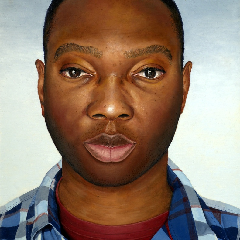 Benjamin Ogbebor (b. 1975), Self Portrait II, 2017. Oil on canvas, 40 x 30cm.