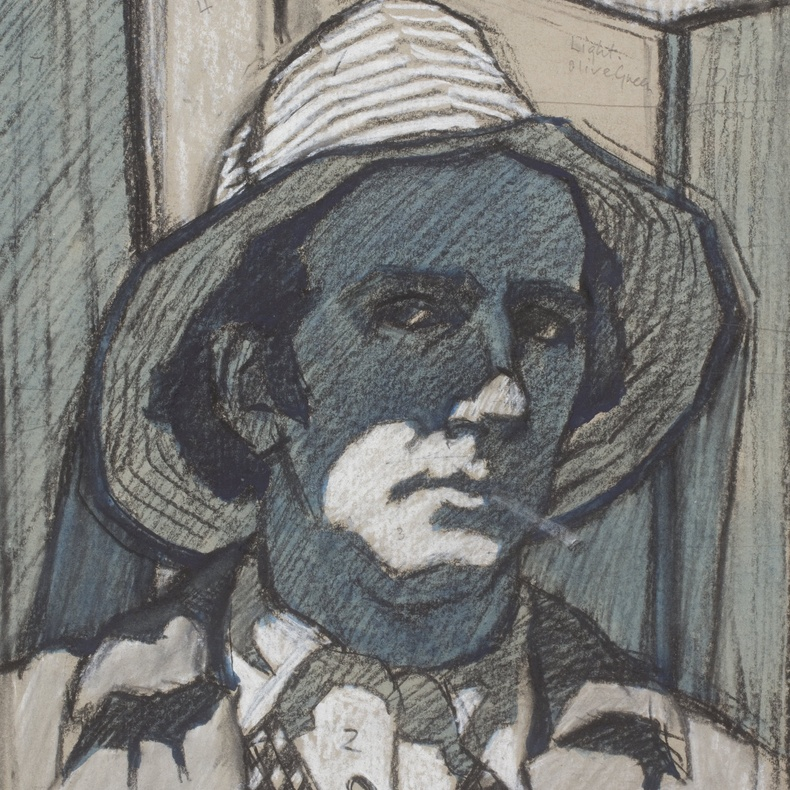 Cyril Mann, Self-Portrait, c. 1957, charcoal or chalk with blue wash on paper, 38 x 28 cm